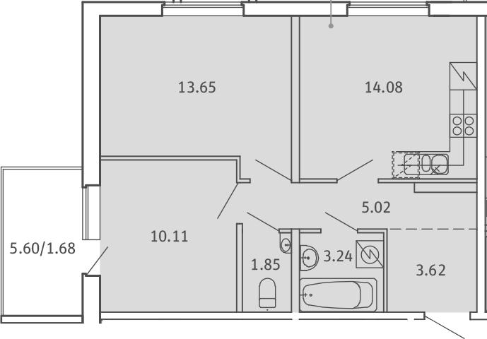 2-комнатная, 53.25 м²– 2