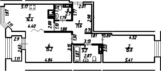 2-к.кв, 66.15 м², 5 этаж