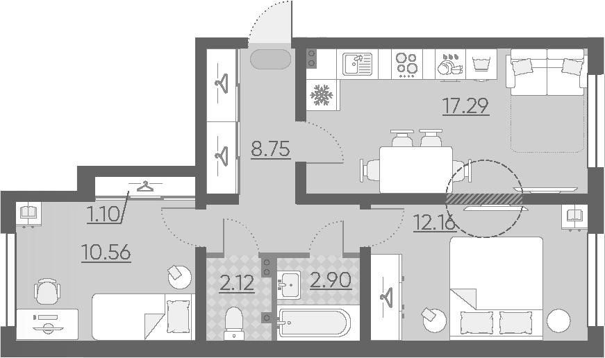 3Е-к.кв, 54.88 м², 1 этаж