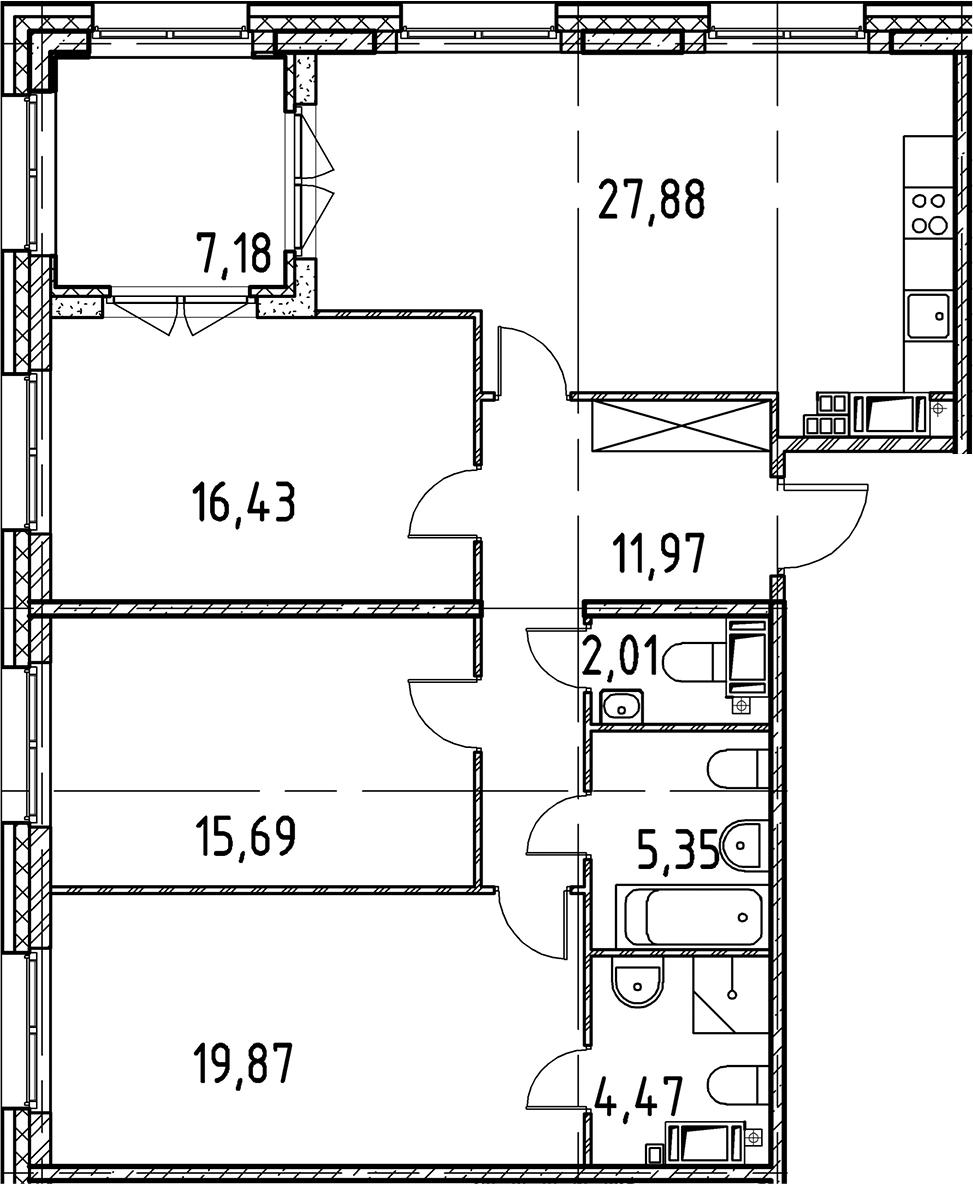 4Е-комнатная, 103.67 м²– 2