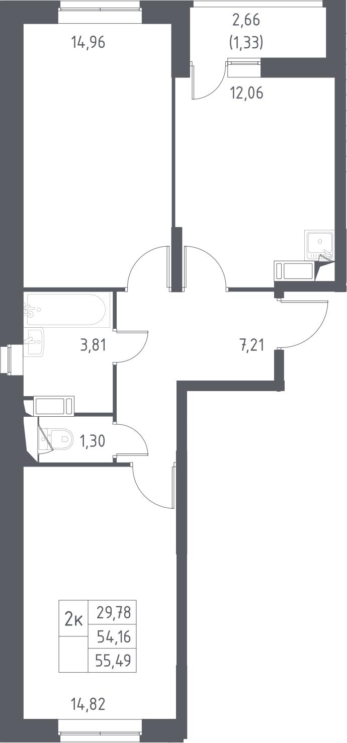 2-к.кв, 56.82 м²