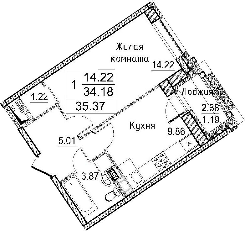 1-к.кв, 36.56 м²