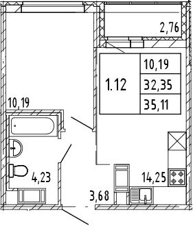 2Е-к.кв, 32.35 м², от 8 этажа