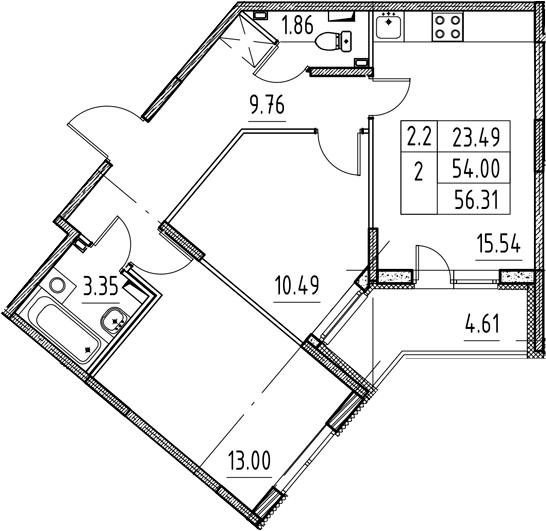 3Е-комнатная, 54 м²– 2