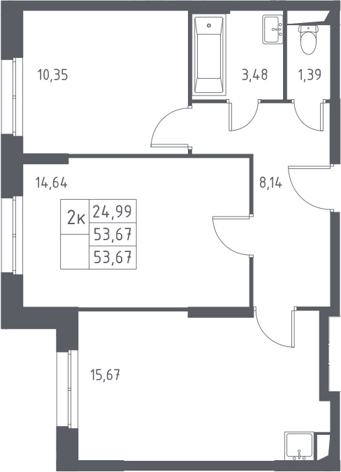 3Е-к.кв, 53.67 м²