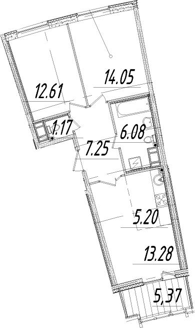 3Е-комнатная, 62.33 м²– 2