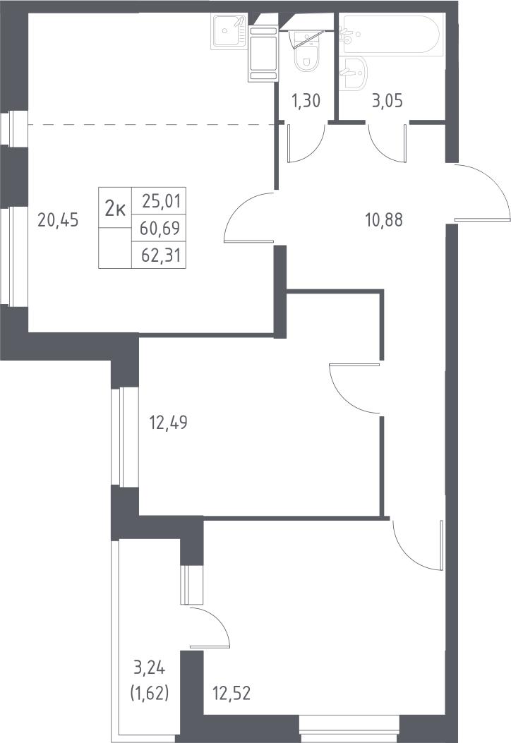 2-комнатная, 62.31 м²– 2