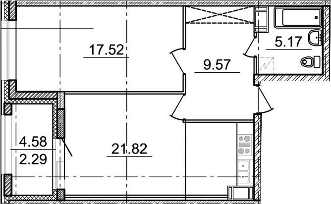1-комнатная, 54.08 м²– 2
