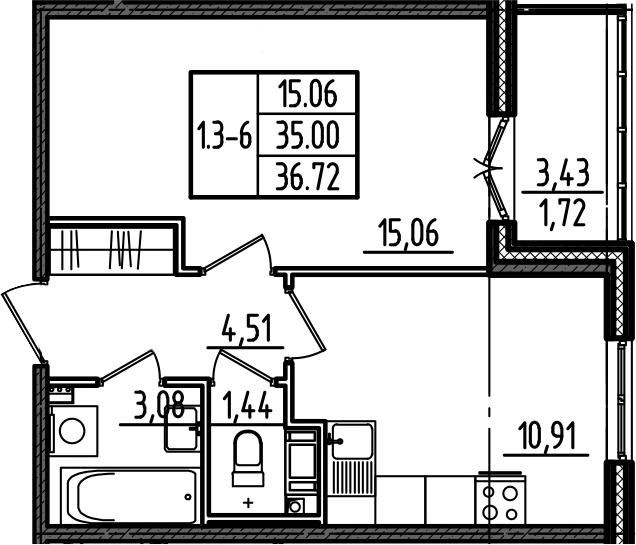 1-к.кв, 36.72 м²