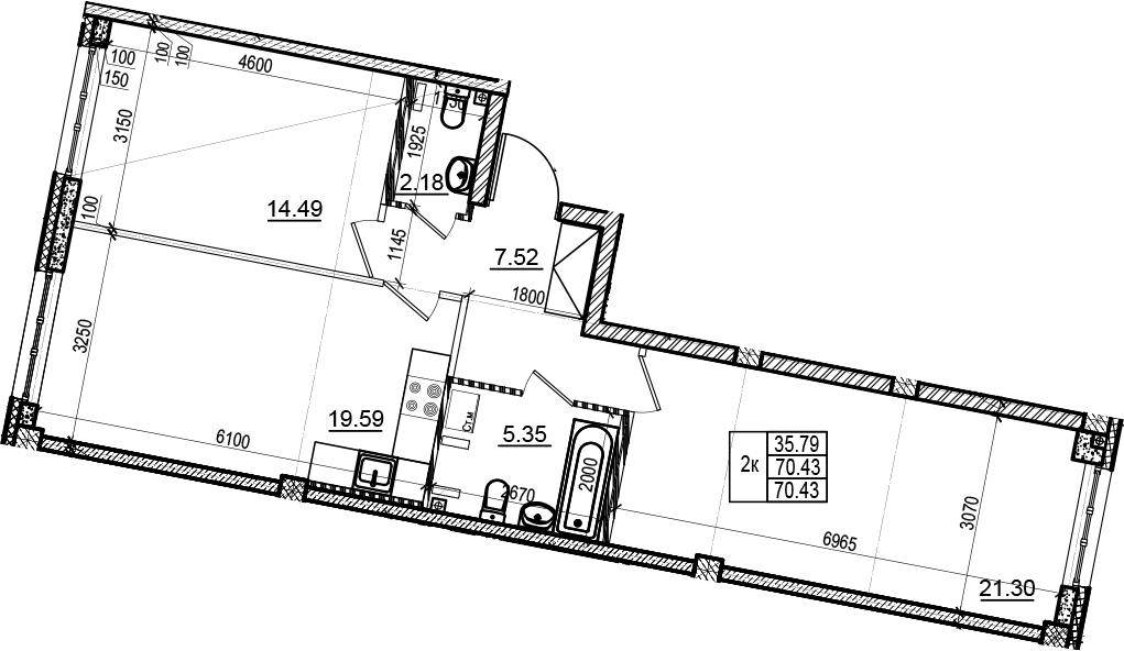 3Е-комнатная, 70.43 м²– 2