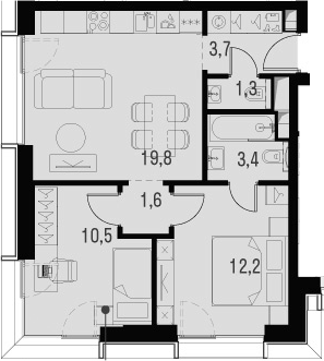 3Е-к.кв, 52.5 м², 6 этаж