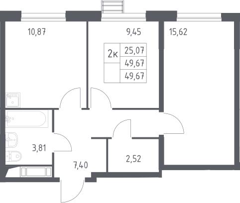 2-к.кв, 49.67 м²