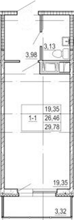 Студия, 29.78 м²