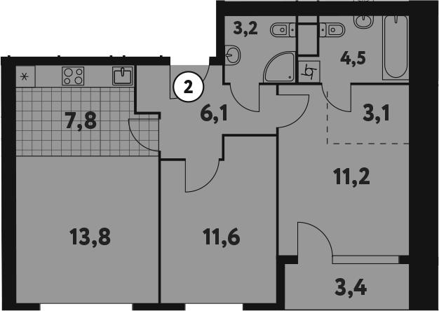 3-к.кв (евро), 64.7 м²