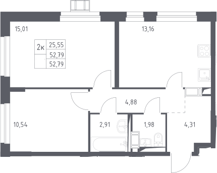 2-к.кв, 52.79 м²