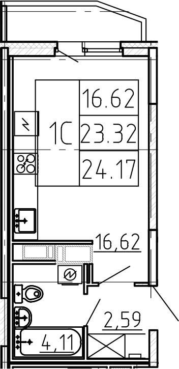 Студия, 24.17 м², 3 этаж