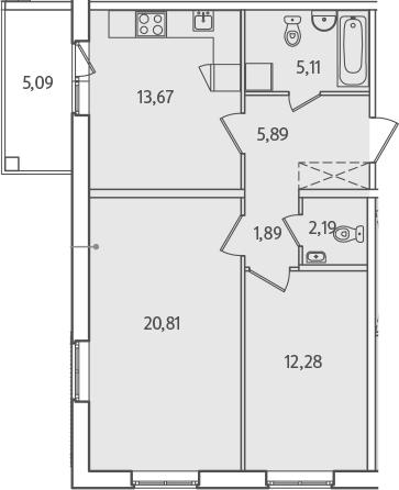2-к.кв, 66.93 м²