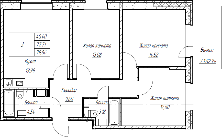 4Е-комнатная квартира, 79.86 м², 5 этаж – Планировка