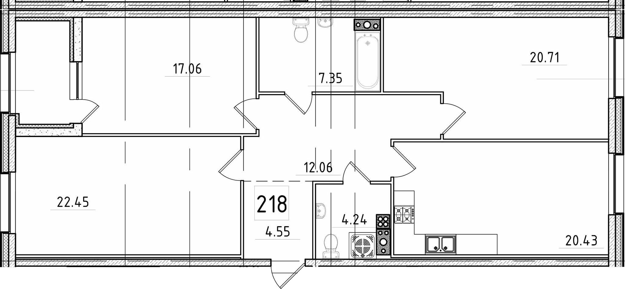 4Е-к.кв, 111.23 м², 5 этаж