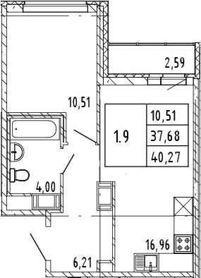 2Е-комнатная, 40.27 м²– 2