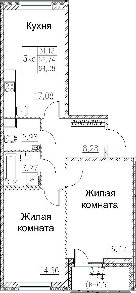 3Е-к.кв, 64.38 м², 2 этаж