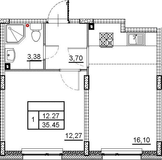 2Е-к.кв, 35.45 м², 1 этаж
