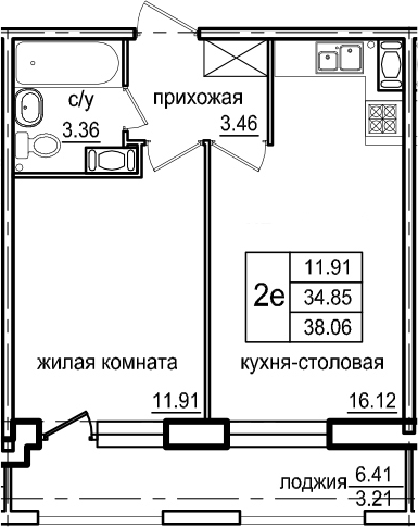 2Е-к.кв, 38.06 м², от 5 этажа