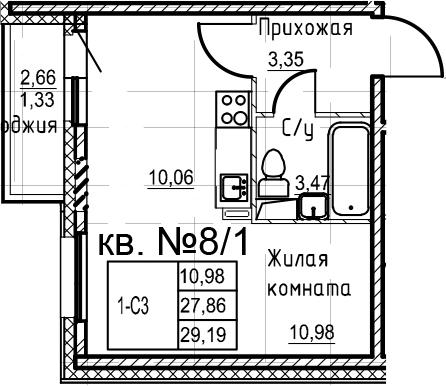 Студия, 29.19 м², 2 этаж – Планировка
