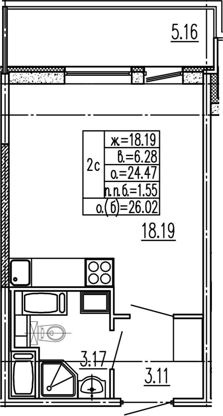 Студия, 24.47 м², 15 этаж