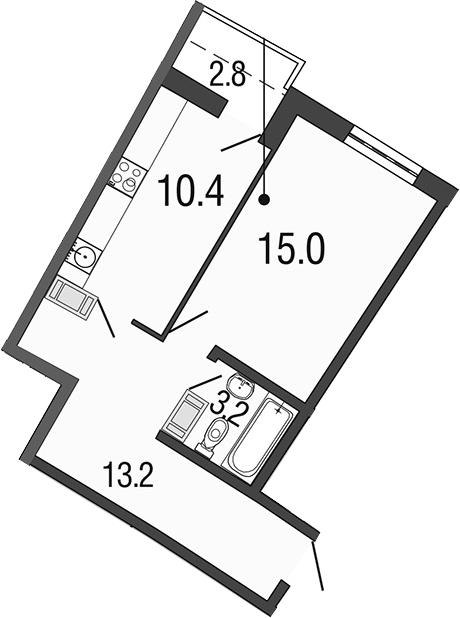 1-к.кв, 44.6 м²