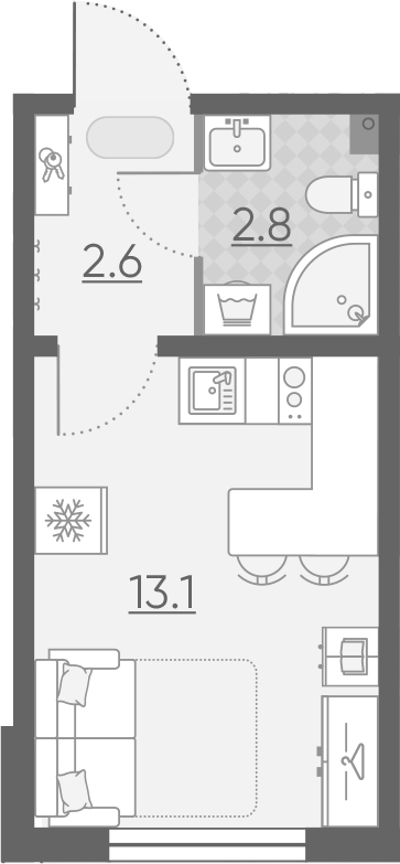 Студия, 18.5 м²