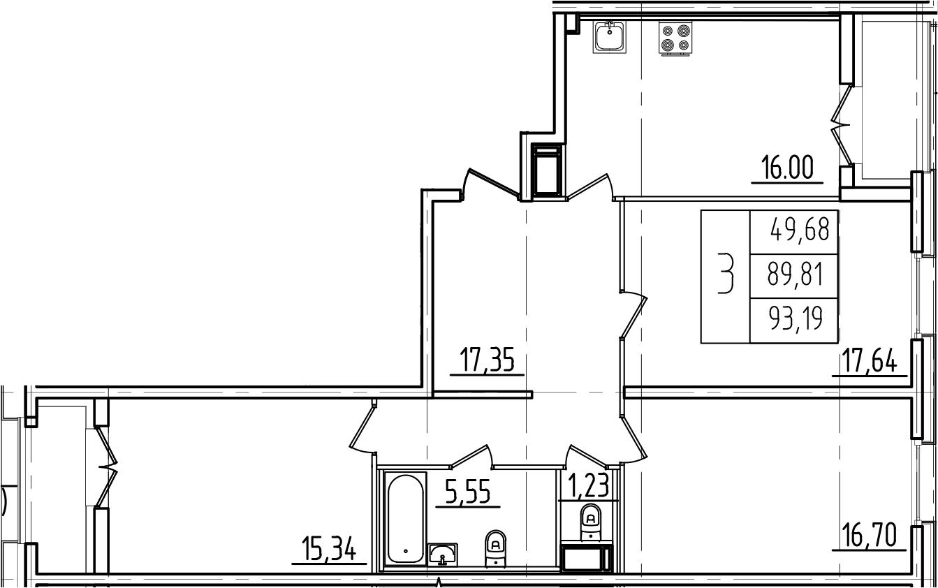 4Е-к.кв, 93.19 м², от 6 этажа