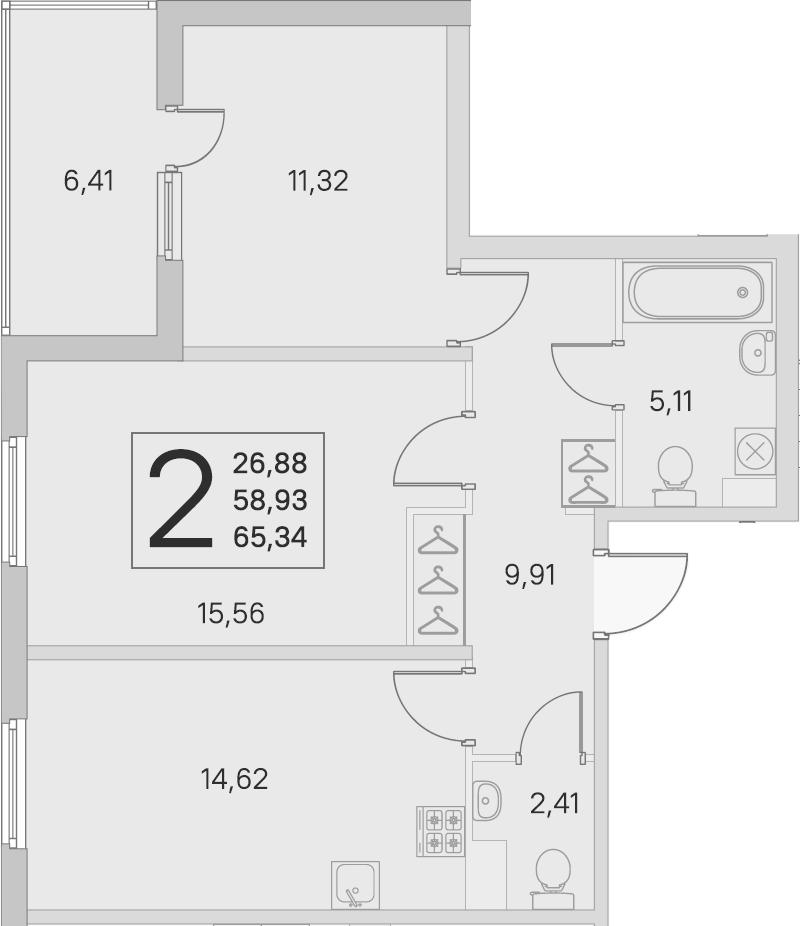 2-к.кв, 58.93 м²