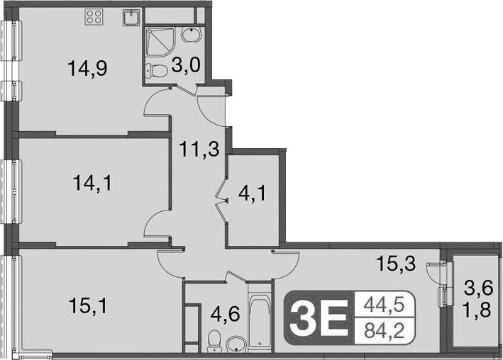 4Е-комнатная, 84.2 м²– 2