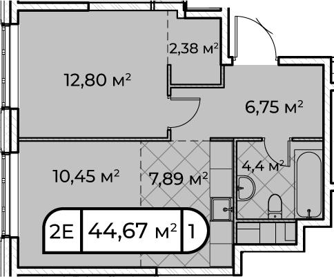 2Е-комнатная, 44.67 м²– 2