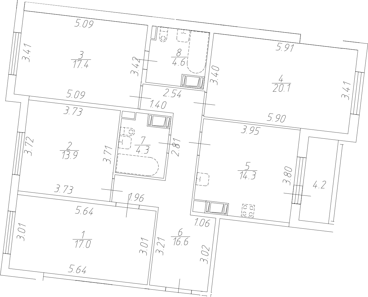 4-к.кв, 112.4 м²