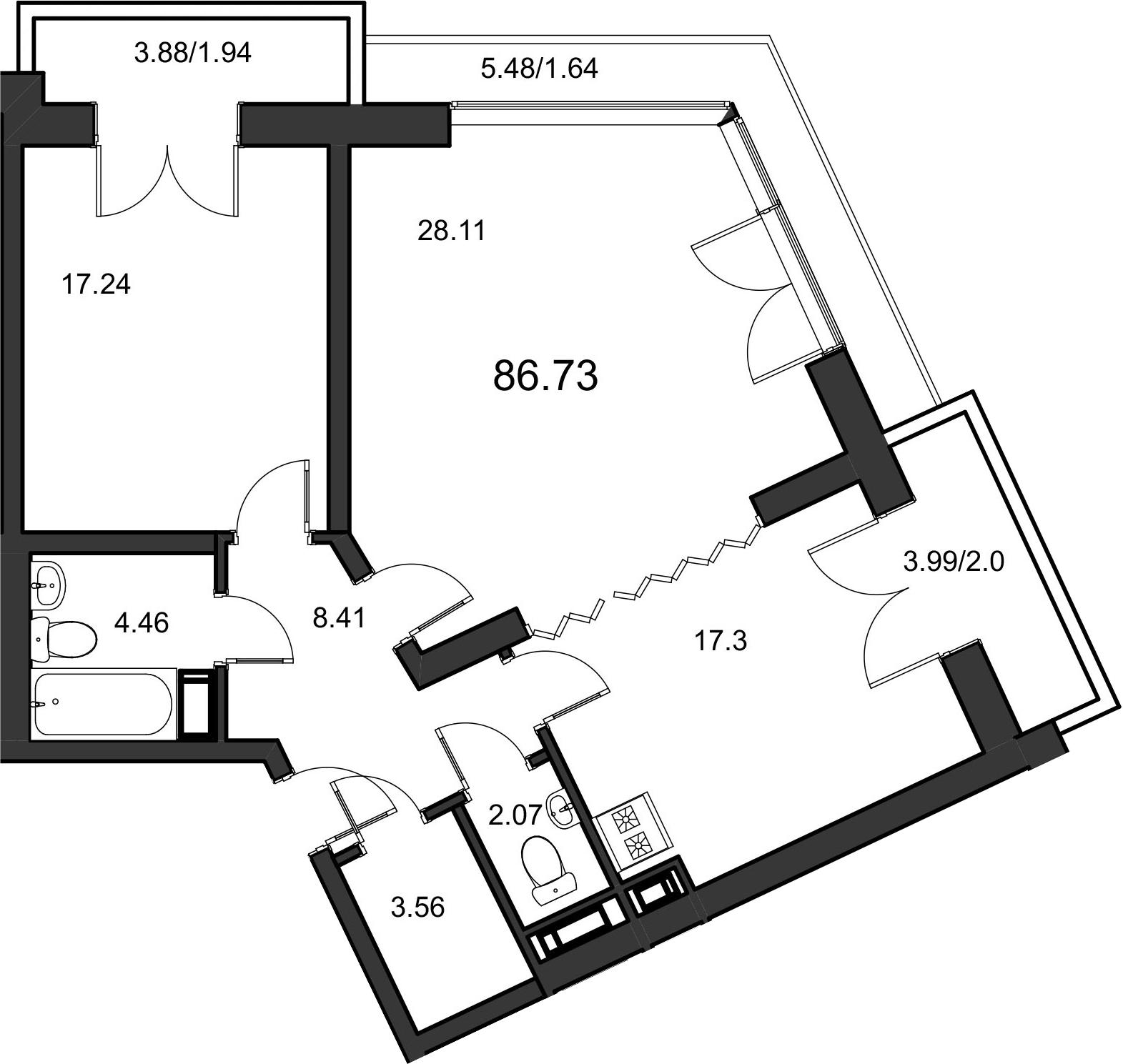 2-комнатная, 84.8 м²– 2