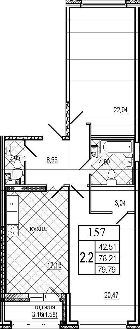 3Е-комнатная, 79.79 м²– 2