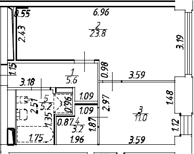 2Е-комнатная, 49.76 м²– 2
