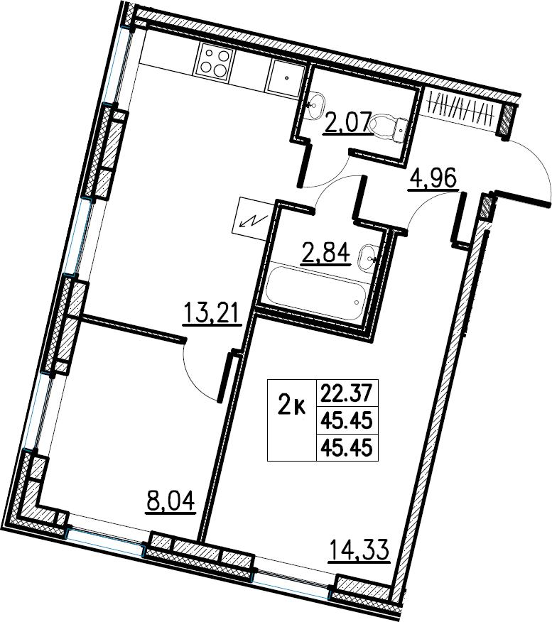 2-комнатная, 45.45 м²– 2