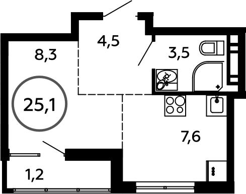1-к.кв, 25.1 м²