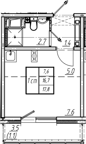 Студия, 17.8 м²
