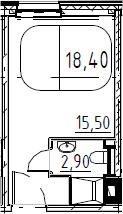 Студия, 18.4 м²