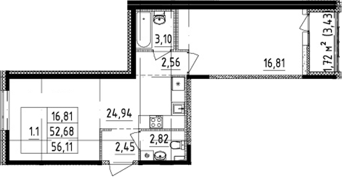 2Е-к.кв, 52.68 м²