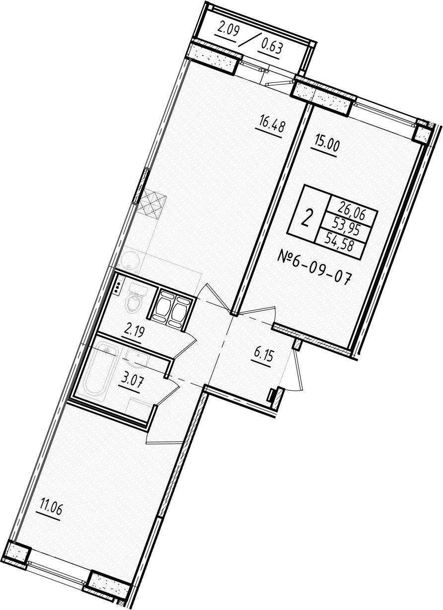 3-к.кв (евро), 56.05 м²