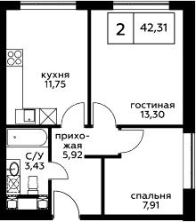2-к.кв, 42.31 м², 6 этаж