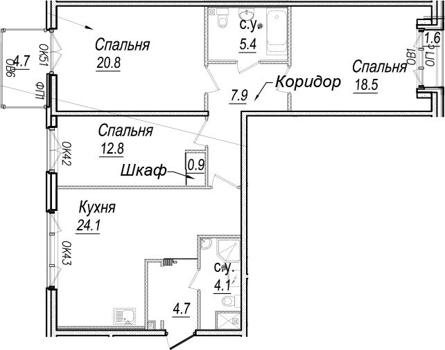 4-к.кв (евро), 105.49 м²