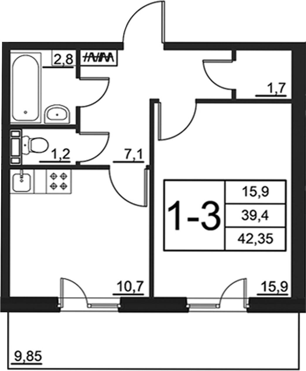 1-к.кв, 49.25 м²