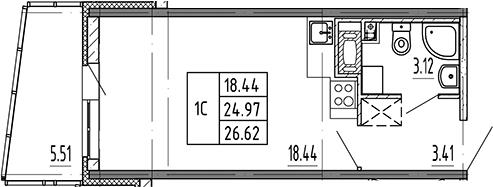 Студия, 26.62 м²