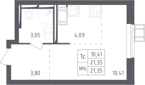 Студия, 21.35 м², 17 этаж